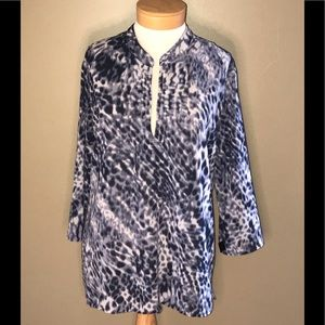 Chicos navy blue and white animal print tunic